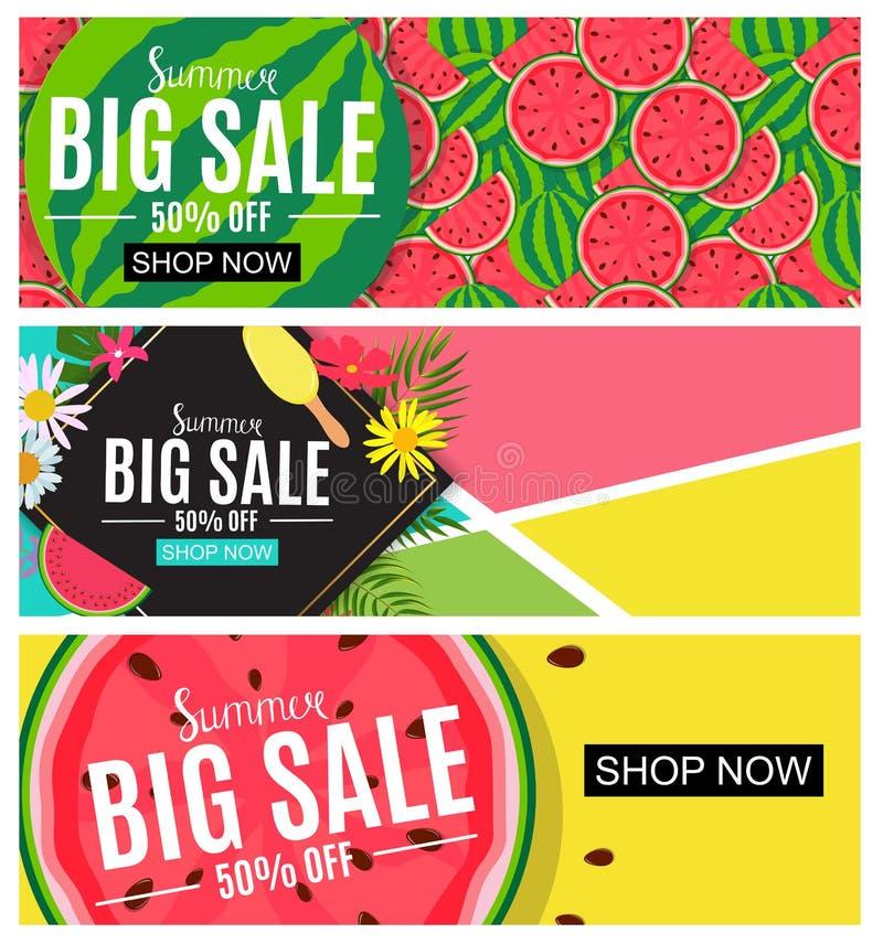 Sommerschlussverkauf-abstrakte Fahnen-Sammlungs-gesetzter Hintergrund für Ihre Geschäfts-Vektor-Illustration stock abbildung