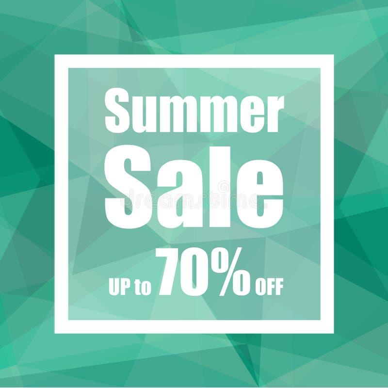 Sommerschlussverkauf bis zu 70% weg mit Polygonzusammenfassungs-Hintergrundart Design für einen Shop und Verkaufsfahnen vektor abbildung