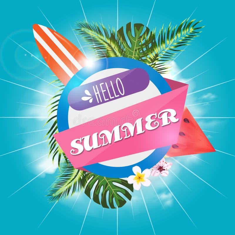 Sommerschlussverkauf-Design mit Blume, Strandurlaub-Elementen und exotischen Bl?ttern auf blauem Hintergrund Tropische Blumenvekt lizenzfreie abbildung