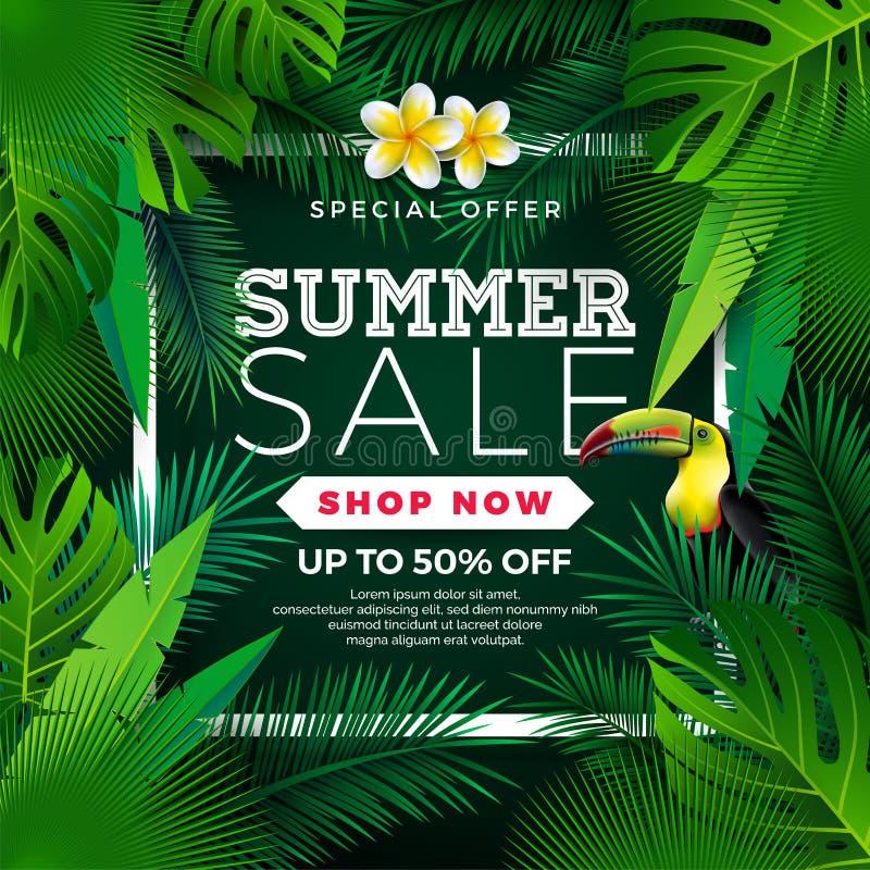 Sommerschlussverkauf-Design mit Blume, Tukan und exotischen Blättern auf grünem Hintergrund Tropische Blumenvektor-Illustration m stock abbildung