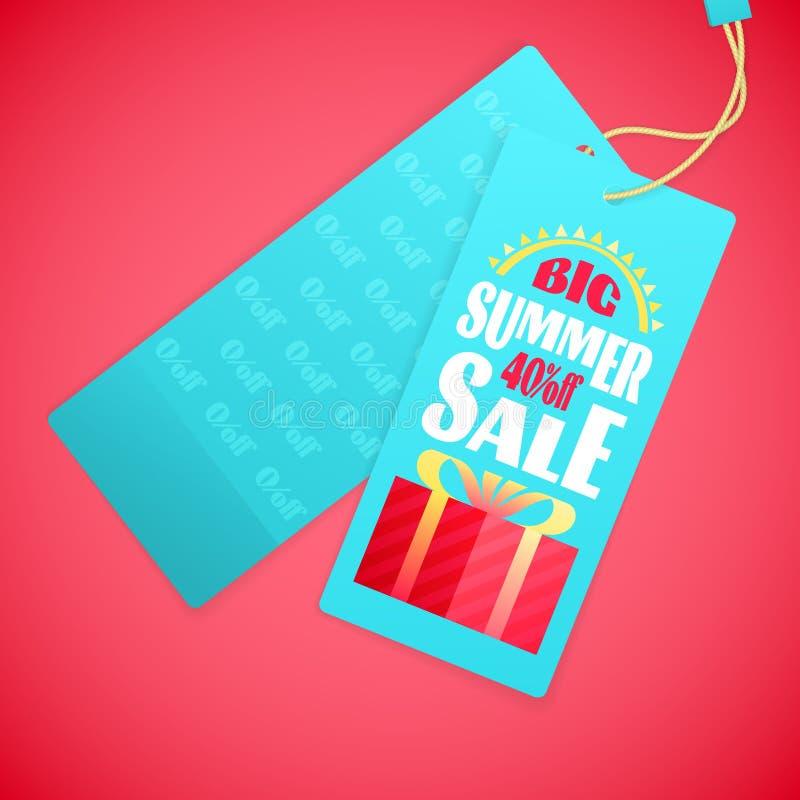 SommerschlussverkaufBriefgestaltungs-Schablone, Sonne, Geschenkbox stock abbildung
