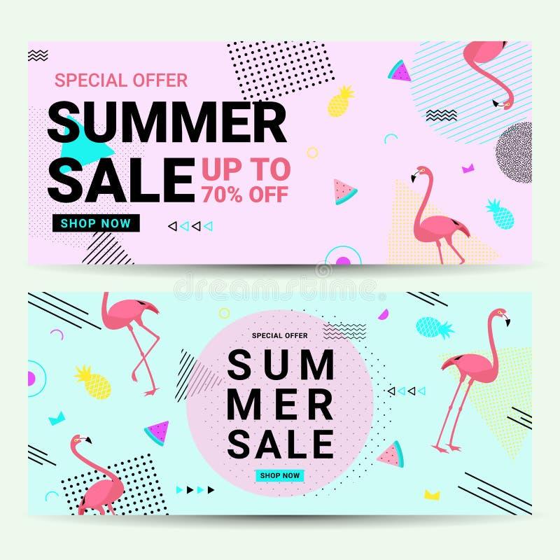 Sommerschlussverkauffahne Memphis-Art mit Flamingo stock abbildung