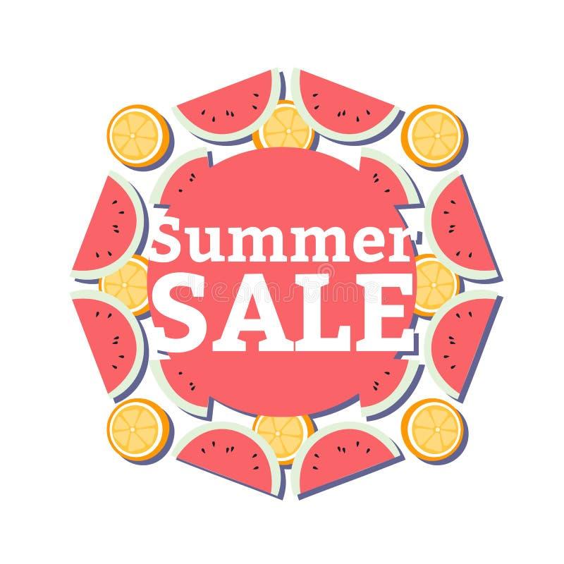 Sommerschlussverkauffahne mit Stücken der reifen Frucht, der Wassermelone und der Orange auf weißem Hintergrund vektor abbildung