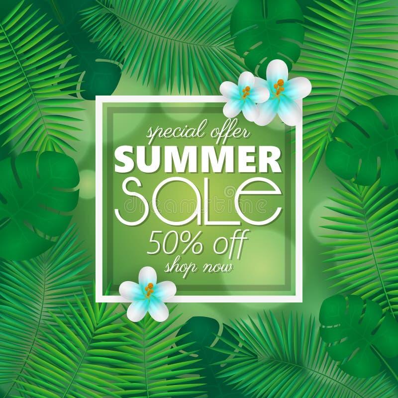 Sommerschlussverkauffahne, Plakatschablone mit Palmblättern und Dschungel treiben Blätter Tropischer Sommermit blumenhintergrund lizenzfreie abbildung