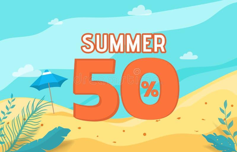 Sommerschlussverkauffahnenfeiertag mit Strandszene Krasnodar Gegend, Katya lizenzfreie abbildung