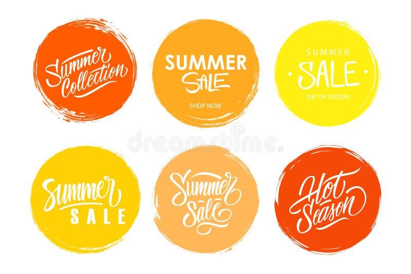 Sommerschlussverkaufhand gezeichnet, Sammlung beschriftend Satz Sonderangebotzeichen mit handgeschriebenem Textdesign stock abbildung