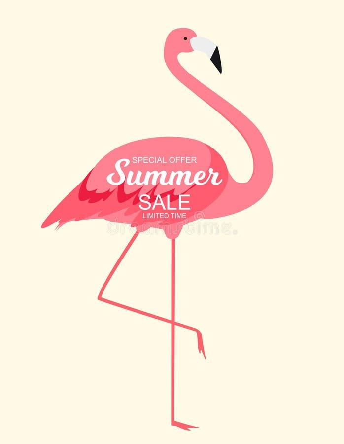 Sommerschlussverkaufkonzept mit buntem Karikatur-Rosa-Flamingo-Hintergrund Abbildung lizenzfreie abbildung