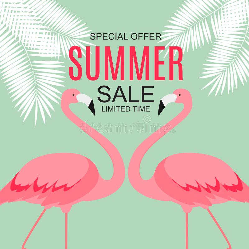 Sommerschlussverkaufkonzept mit buntem Karikatur-Rosa-Flamingo-Hintergrund Abbildung vektor abbildung