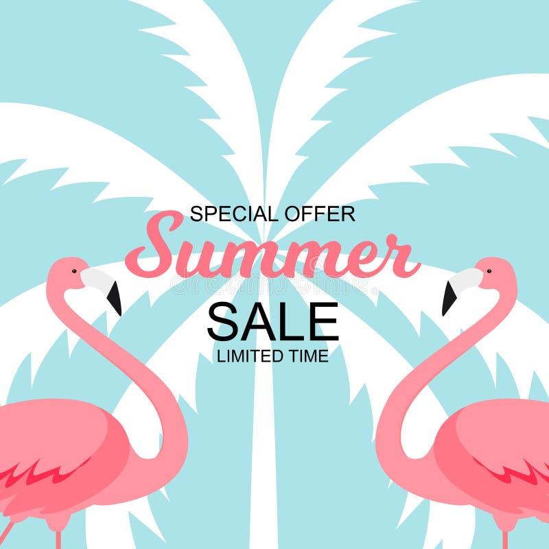 Sommerschlussverkaufkonzept mit buntem Karikatur-Rosa-Flamingo-Hintergrund Abbildung stock abbildung