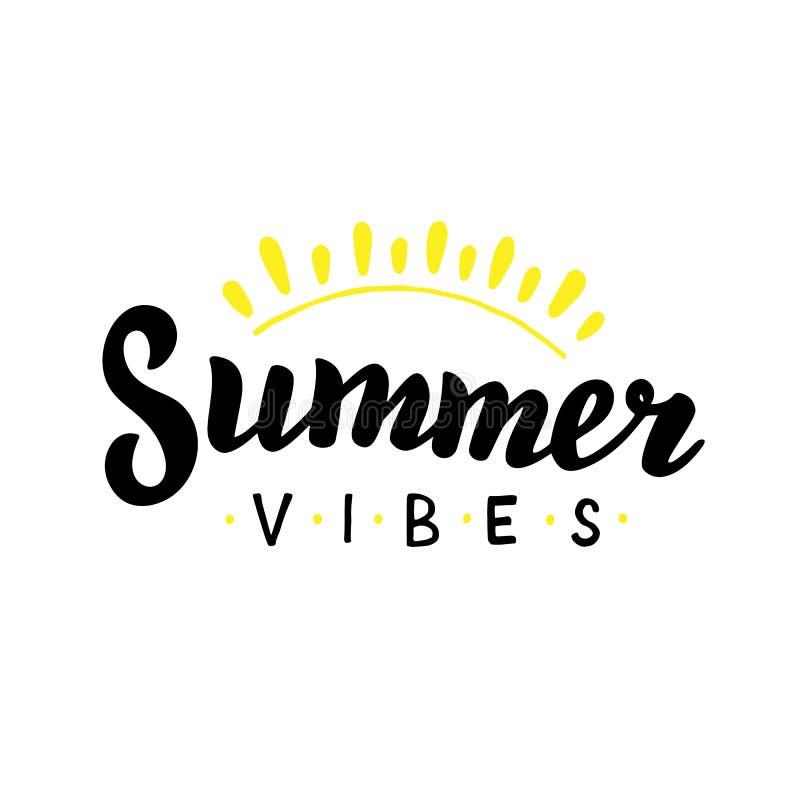 Sommerschwingungen ?bergeben gezogenes Zitat Sommerferien-Designschablone Beschriften des modischen Textes lizenzfreie abbildung