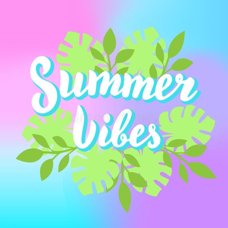 Sommerschwingungen, die mit tropischen Blättern und buntem backgroung beschriften Strandfest, Sommerferien drucken Entwurf vektor abbildung