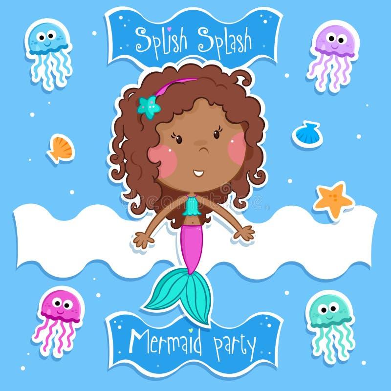 Sommerspaß - nette kleine Meerjungfrau und ihre Ozeanfreunde - lokalisierte lizenzfreie abbildung
