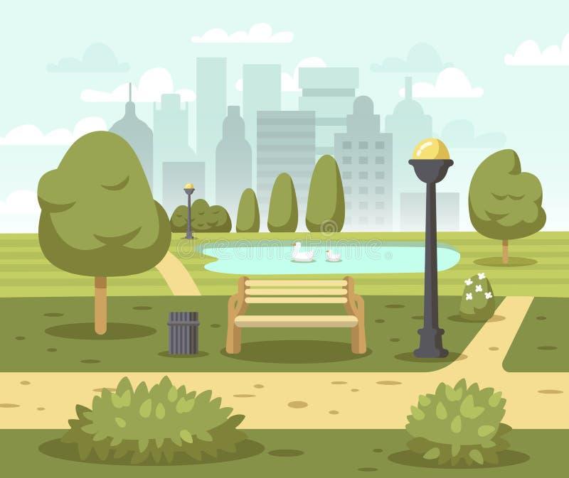 Sommerstadt-Parkhintergrund stock abbildung