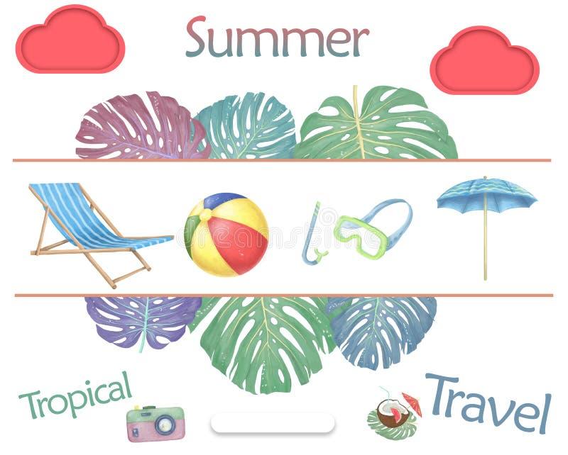 Sommerstrand-Gegenstandball, Maskentauchen, Regenschirm Sommerzeitillustration Aquarellbürste, Clipartreiseausrüstung auf Weiß stock abbildung
