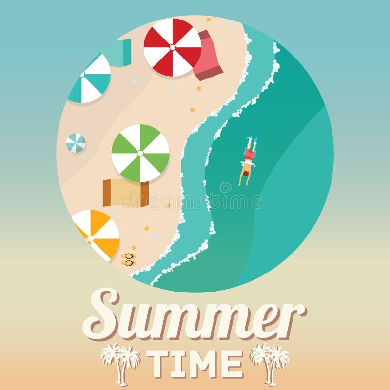 Sommerstrand im flachen Design, in der Vogelperspektive, in der Seeseite und in den Regenschirmen, Vektorillustration lizenzfreie abbildung
