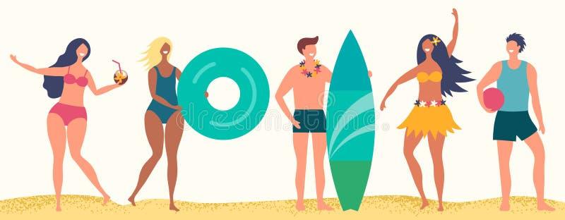 Sommerstrand-Vektorcharaktere Glückliche Jungen und Mädchen auf Sandstrand lizenzfreie abbildung