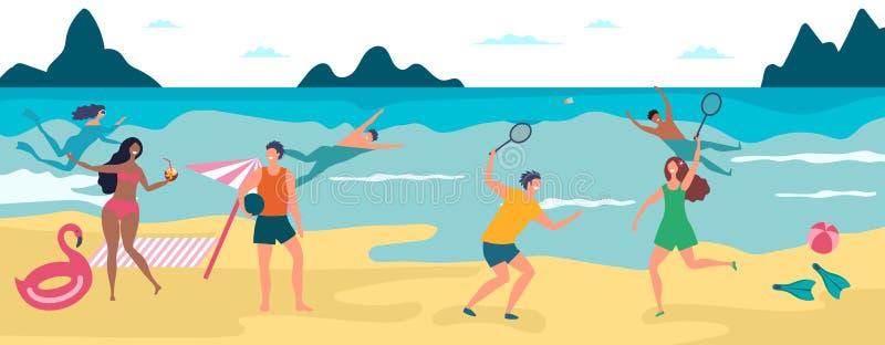 Sommerstrandferien Glückliche Jungen und die Mädchen, die schwimmen und haben, nimmt ein Sonnenbad vektor abbildung