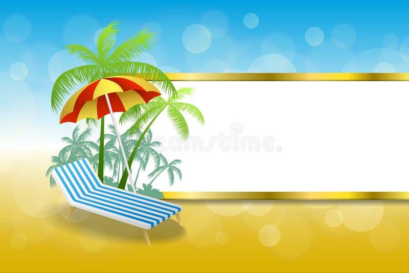 Sommerstrandferien-Klappstuhl-Regenschirmes des Hintergrundes streift blaues Gelb des abstrakten Goldrahmenillustration lizenzfreie abbildung