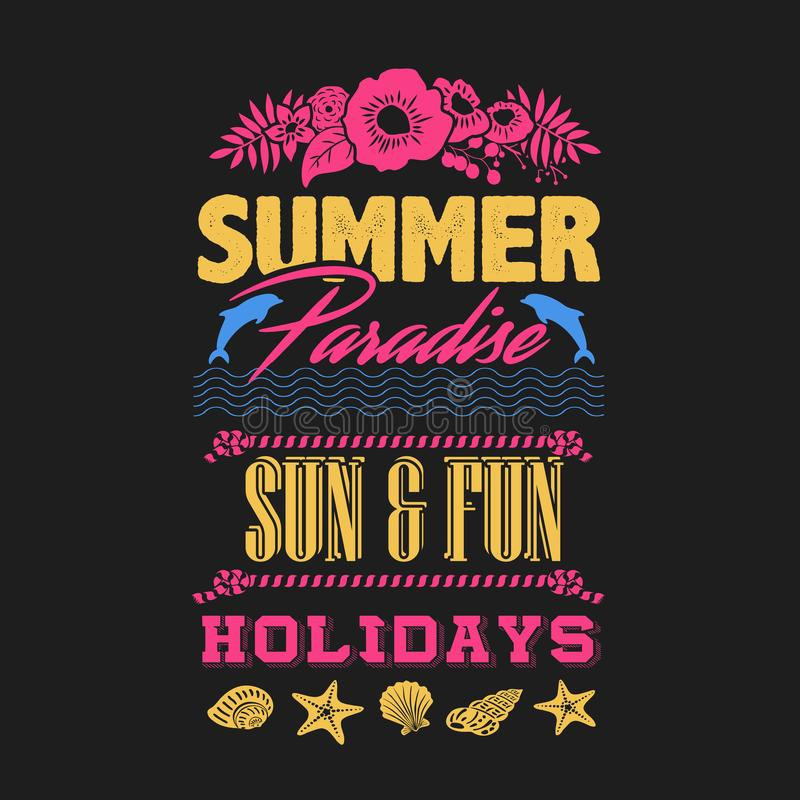 Sommerstrandfest jedes Nachtt-shirt stock abbildung