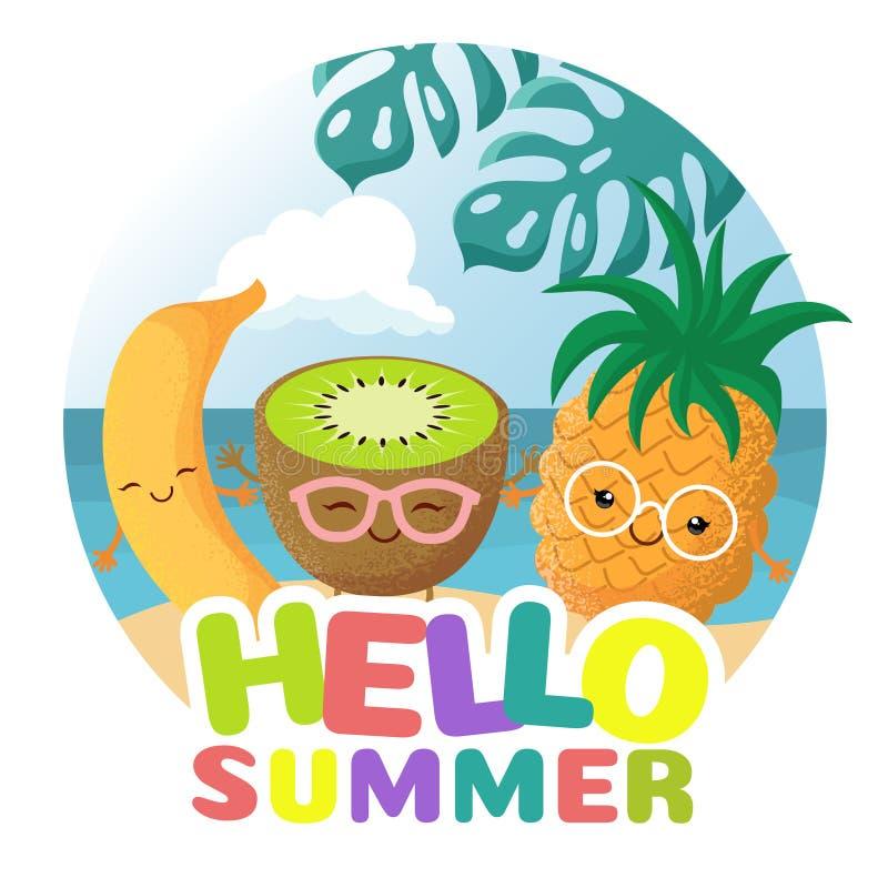 Sommerstrandfest-Vektorhintergrund mit tropischen lustigen netten lächelnden tropischen Früchten lizenzfreie abbildung