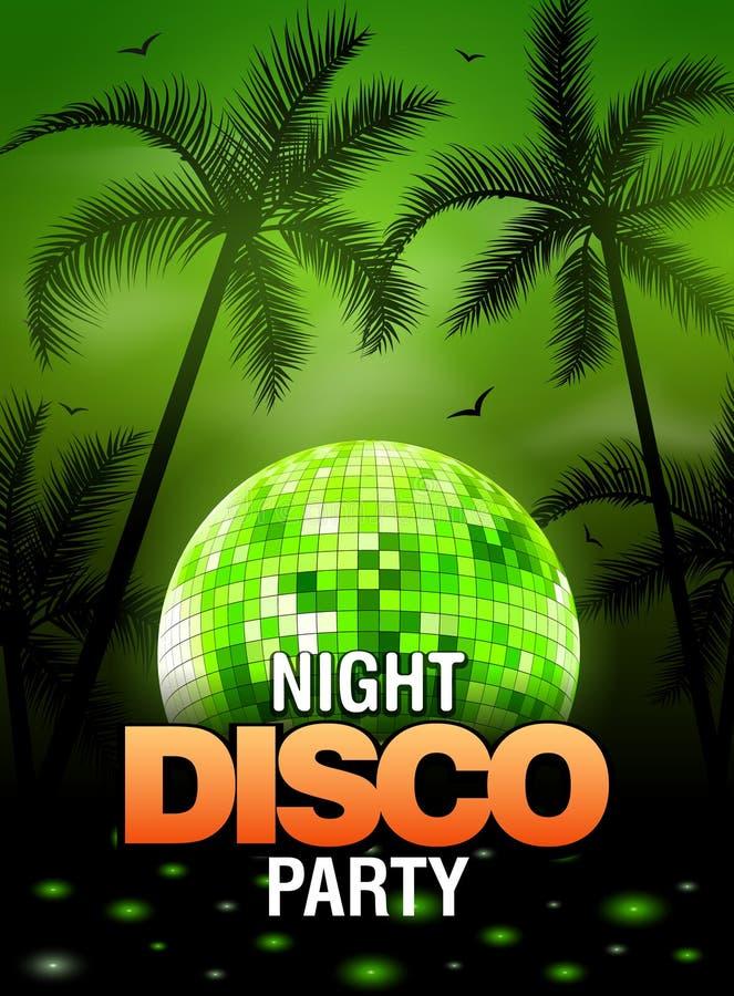 Sommerstrandfestdisco-Plakatdesign mit Discoballelement Vektorstrandfestflieger mit Palme Musikschlagschablone vektor abbildung