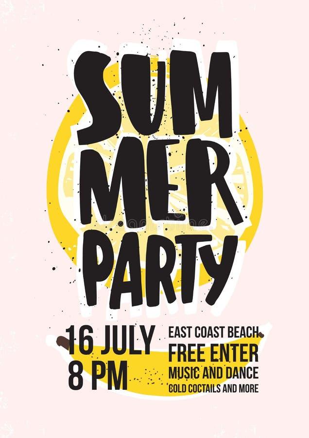 Sommerstrandfesteinladung oder Plakatschablone mit dem Beschriften handgeschrieben gegen Scheibe der saftigen gelben Zitrone und stock abbildung