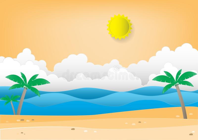 Sommerstrandhintergrund mit Palme Papierhandwerk stock abbildung