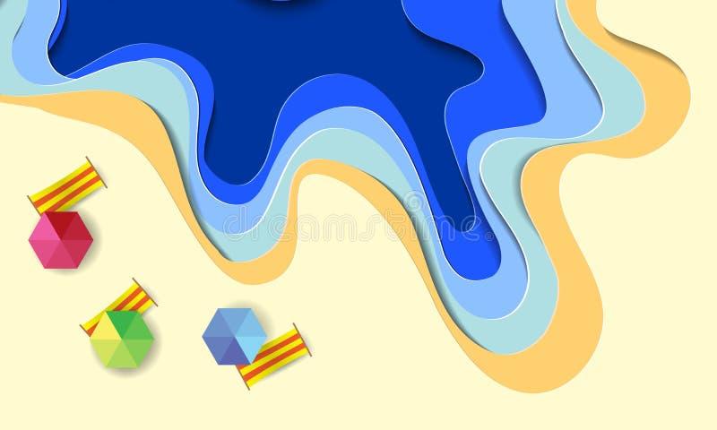Sommerstrandhintergrund mit Regenschirmen, Bällen, Schwimmenring, Surfbrett, Hut, Starfish und Meer Vogelperspektive des Sommerst stockfotos