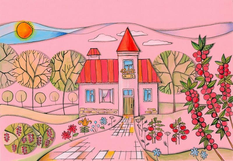 Sommertag im Dorf Bunte Zeichnung des Landhauses im Garten lizenzfreie stockfotos