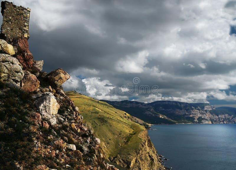Sommertageslandschaft mit dem Meer und den Bergen Ukraine, Republik von Krim lizenzfreie stockbilder