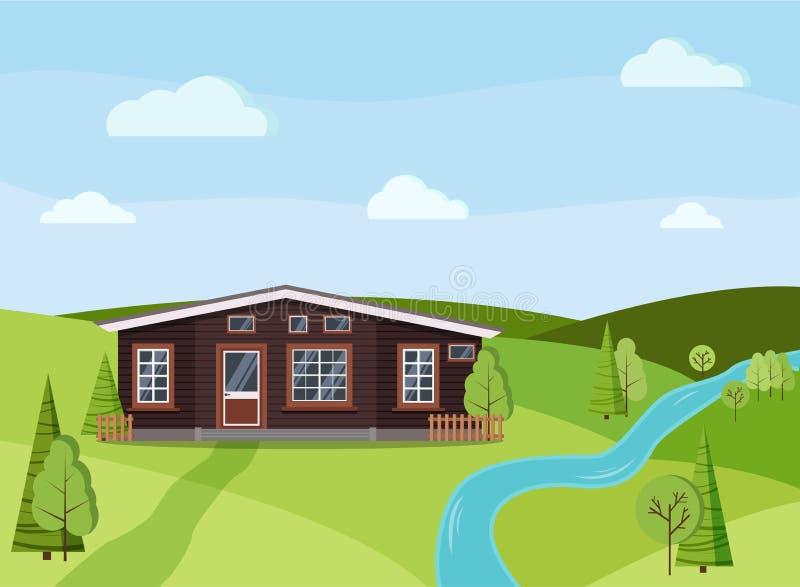 Sommertageslandschaftsnaturhintergrund mit ländlichem Gutshaus des hölzernen Landes stock abbildung
