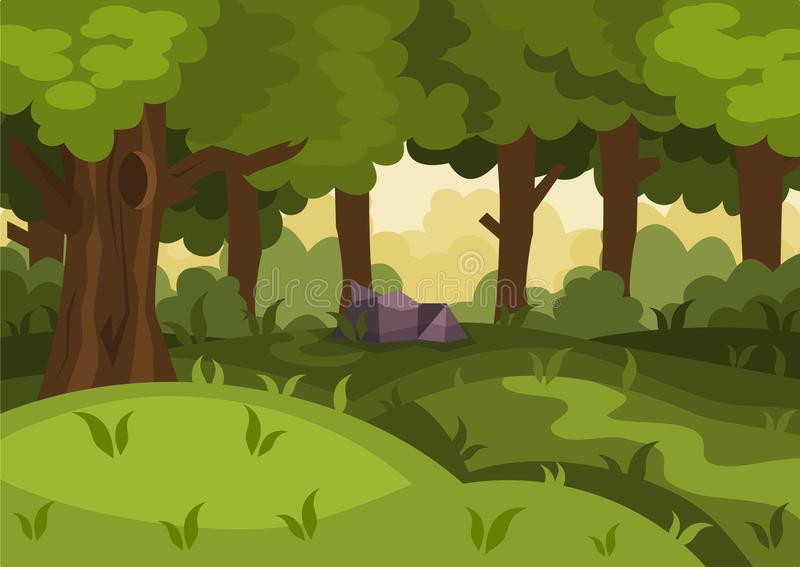 Sommertageswaldkarikatur-Vektorhintergrund vektor abbildung