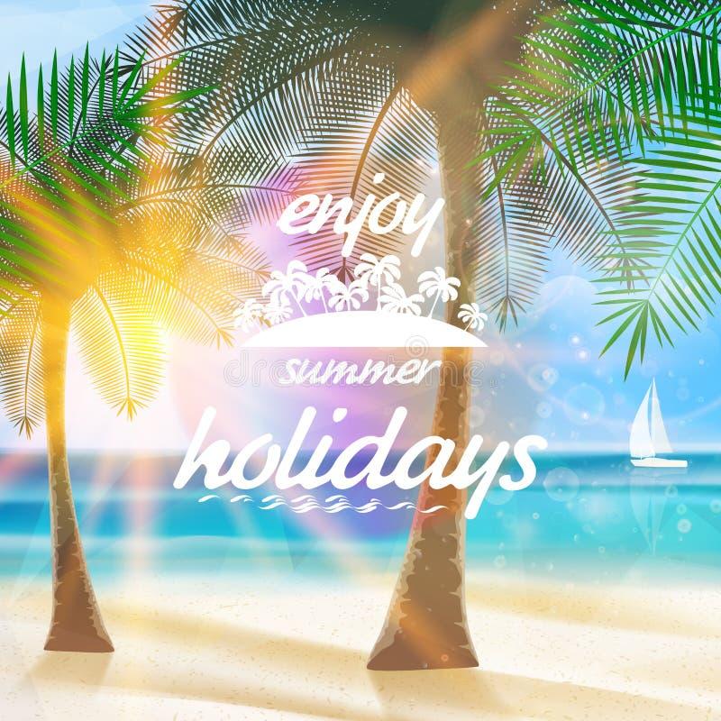 Sommertypographie-Feiertagsschablone vektor abbildung
