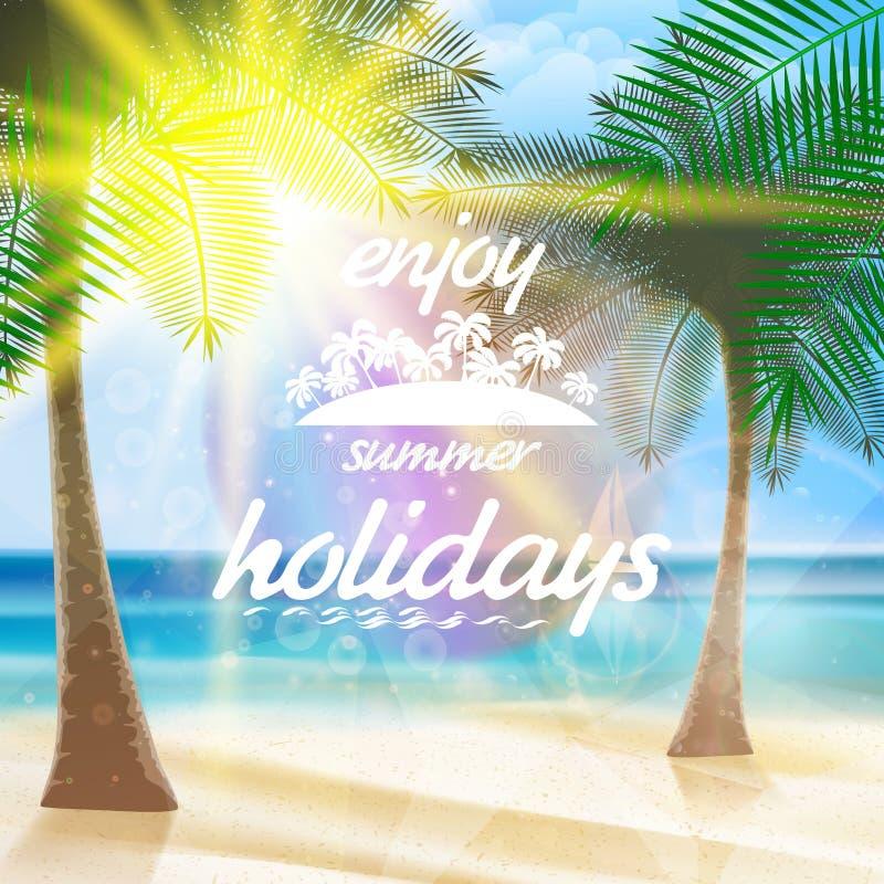 Sommertypographie-Feiertagsschablone lizenzfreie abbildung