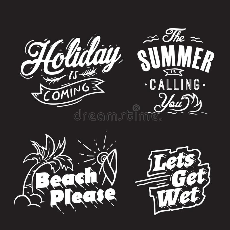 Sommertypographie- und -feiertagsw?rter lizenzfreie abbildung