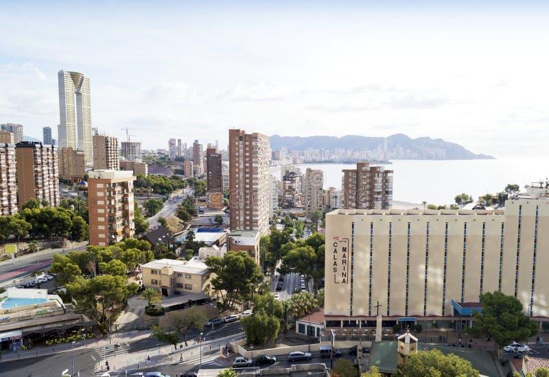 Sommerurlaubsort Benidorm in Spanien lizenzfreies stockbild