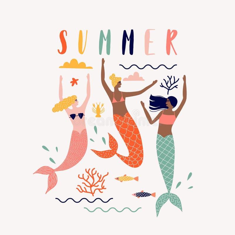 Sommervektorillustration mit Meerjungfrau unter dem Meer vektor abbildung