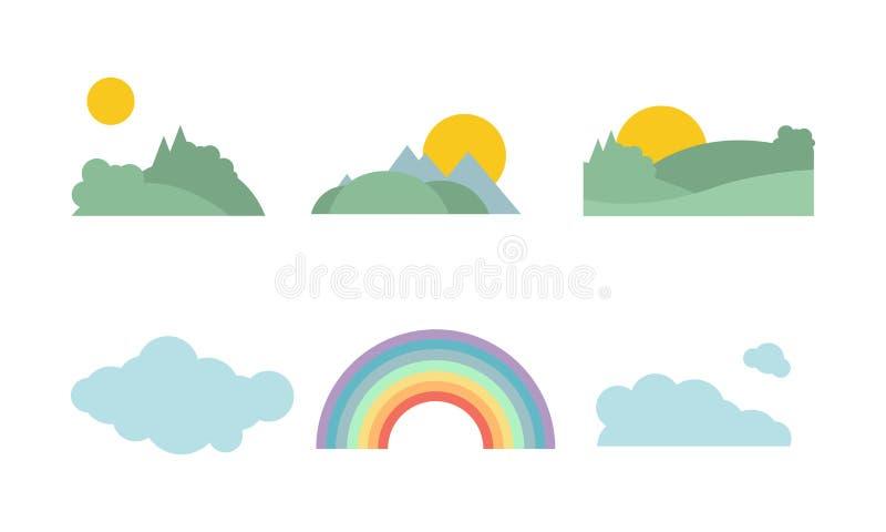 Sommerwald, Sonne, Wolke und Regenbogen, Naturlandschaftselement-Vektor Illustration auf einem weißen Hintergrund stock abbildung