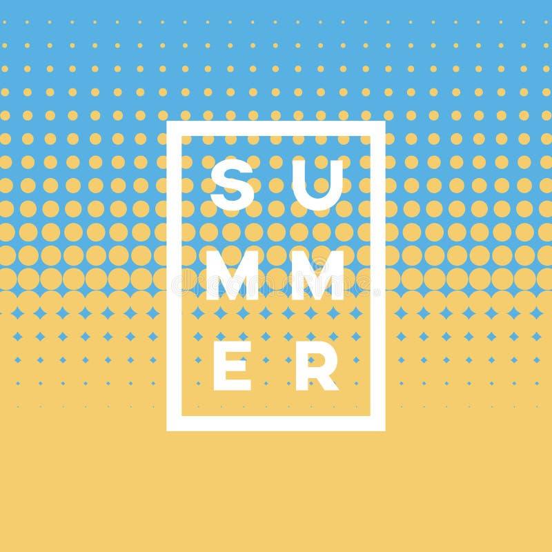 Sommerweinlesevektor-Plakatschablone mit Halbtonhintergrunddesign- und Strandsand- und -seefarben stock abbildung