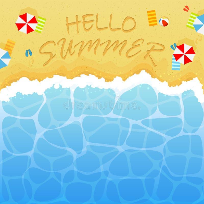 Sommerzeit auf sandigem Strand lizenzfreie abbildung