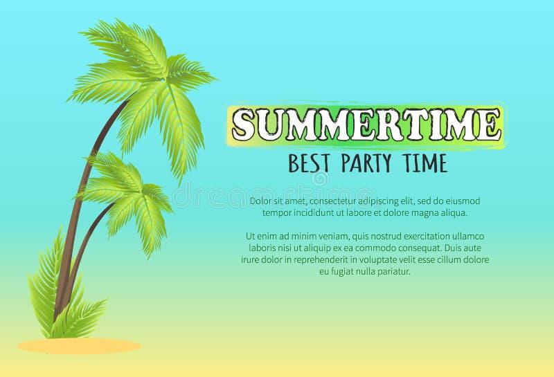 Sommerzeit-bestes Partei-Zeit-Vektor-Plakat mit Palme lizenzfreie abbildung