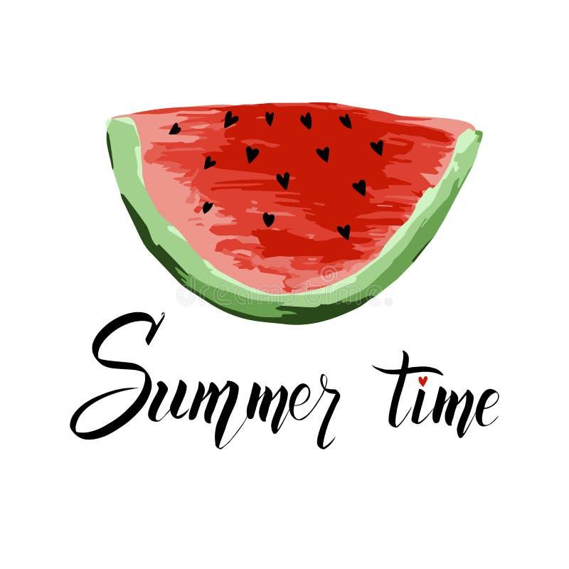 Sommerzeit, die mit einer Scheibe der Wassermelone beschriftet Moderner kalligraphischer Entwurf des Vektors lizenzfreie abbildung