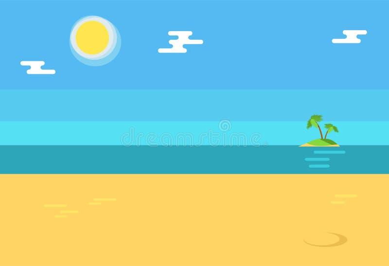 Sommerzeit-Hintergrund mit Küste, Insel-Palmen lizenzfreie abbildung