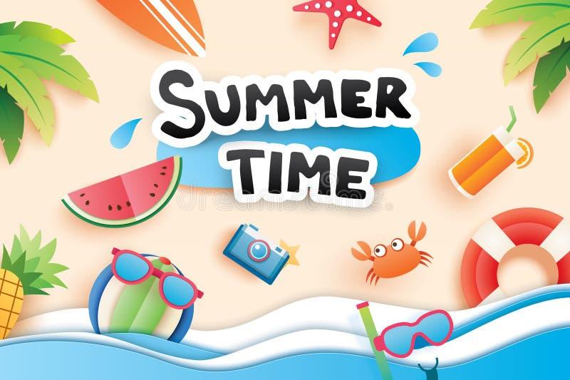 Sommerzeit mit Papier schnitt Symbolikone für Ferienstrand backgr lizenzfreie abbildung