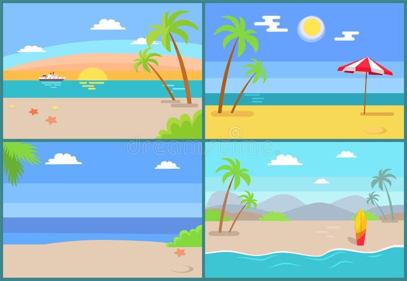 Sommerzeit-Paradies-Satz des Vektors Sandy Beaches vektor abbildung
