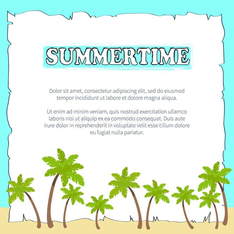 Sommerzeit-Plakat auf Blatt Papier mit Text stock abbildung