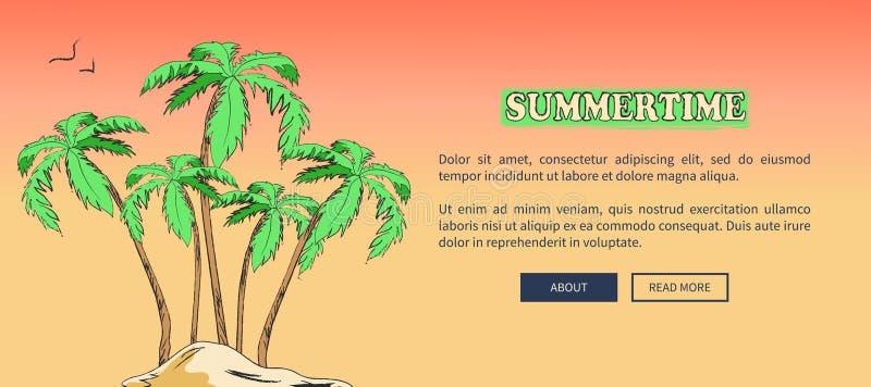Sommerzeit-Plakat, das Insel mit Palmen darstellt lizenzfreie abbildung