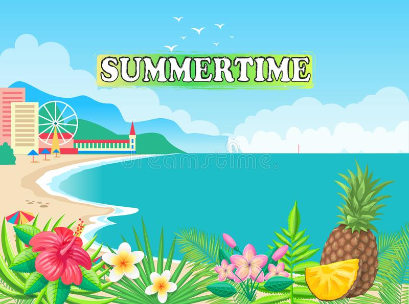 Sommerzeit-Plakat-Küsten-Vektor-Illustration vektor abbildung