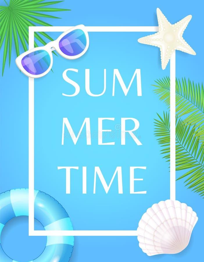 Sommerzeit-Plakat mit Rahmen-Rettungsring und Muschel lizenzfreie abbildung