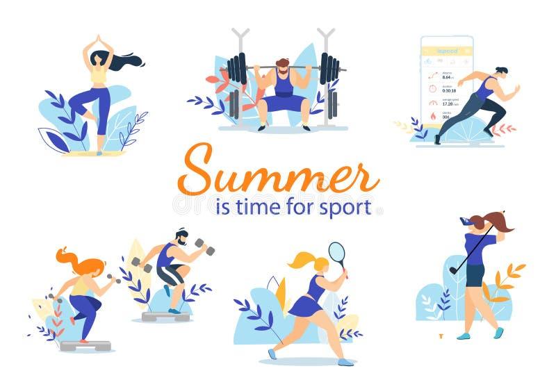 Sommerzeit-Sport-Tätigkeits-Satz lokalisiert auf Weiß vektor abbildung